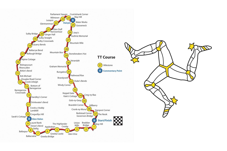 Дължината на трасето, на което се провеждат състезанията е 61 километра. Абсолютният рекорд на трасето е 17 минути и 11,5 секунди и принадлежи на Джон Мак Гинес. В зависимост от класа, състезателите правят от 3 до 6 обиколки.